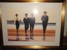 "COLLECTABLE LARGE GILT 35"" X 27"" FRAMED GLAZED PRINT JACK VETTRIANO BILLY BOYS"